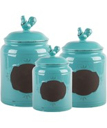Set of 3 Aqua Chalkboard Rooster Canisters GB by Home Essentials - $69.28