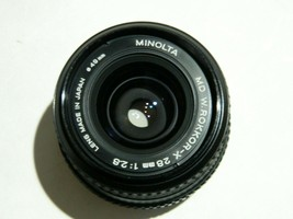 Minolta MD W Rokkor-X 28mm 1:2.8 Lens With Hood and UV Filter - $74.25