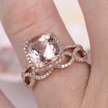 3.50Ct Cushion Cut Morganite Bridal Halo Engagement Ring 14K Rose Gold F... - $101.24