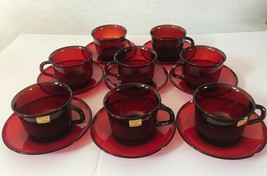 Acroroc French Red Glass Cups & Saucers - $54.44