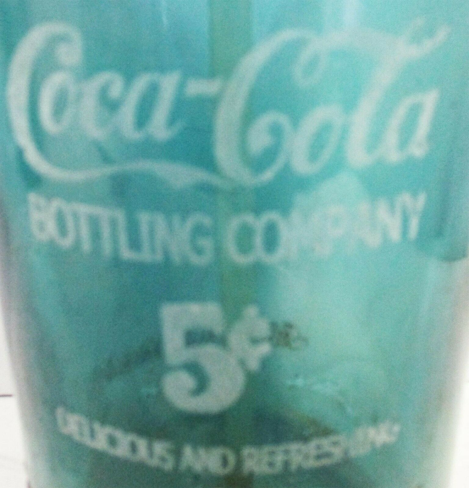 Blue/Green Seltzer Bottle Etched Coca-Cola Bottling Glass Circa 1940's image 2