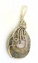 Fossilized Horn Coral Nickel Silver Wire Wrap Pendant 36 - $27.90