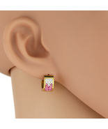 UNITED ELEGANCE Gold Tone Hoop Earrings With Pink Swarovski Style Crystals - $9.99