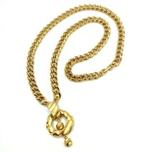 Vtg Givenchy Pendant Statement Necklace Runway Dangle Gold Plated Curb Signed - $271.09