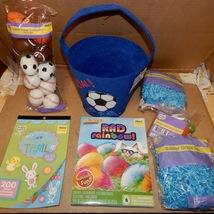 Easter Mix Lot 7 Items Basket Paper Grass Stickers Sports Eggs Racer Dye 163D - $12.49