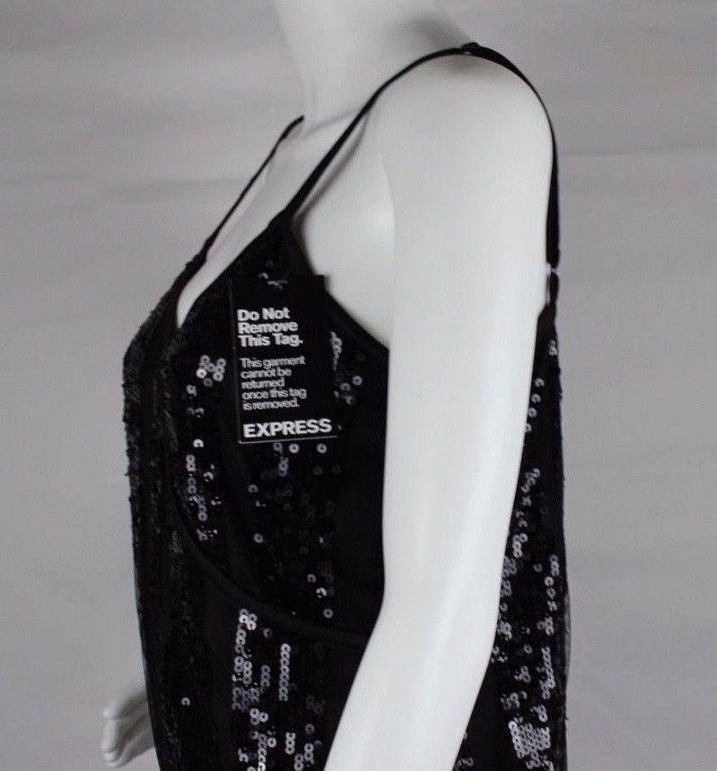 Express women's dress sequin sleeveless black party dress size M image 5