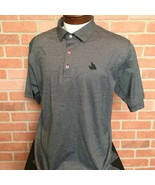 Peter Millar Mens Polo Shirt L Black/gray With Pink Buttons (X36) - $18.80