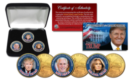 Donald Trump / Melania / Mike Pence 3-Coin Set Colorized 24K Gold Plated... - $17.72
