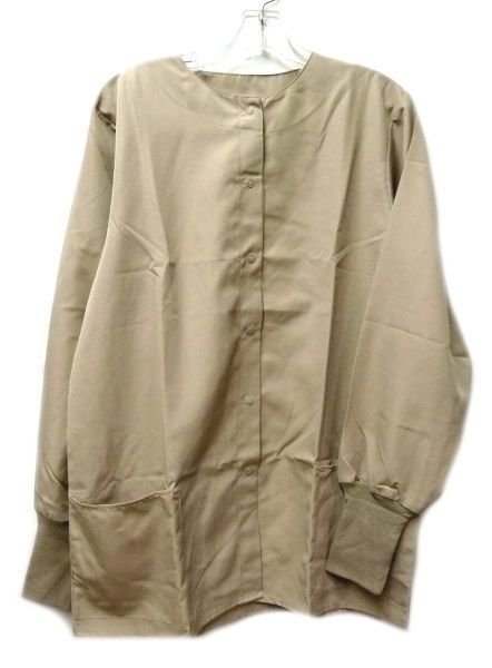 Primary image for Khaki XS BodyGardz Unisex Snap Front Round Neck Warm Up Scrub Jacket New