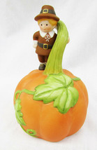 Avon pilgrim boy on pumpkin Halloween Thanksgiving harvest bell - $5.95