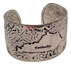 USA State Antiqued Silver Hammered cuff bracelet (Kentucky)