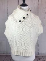 Ann Taylor Size XS/S Ivory Merino Wool Blend Split Button Neck Poncho Sweater - $15.77