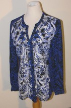 DANA BUCHMAN Blue Paisley Medallion Print Blouse Shirt Womens Size 10 nb - $15.99