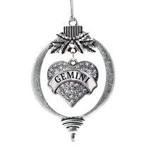Inspired Silver Gemini Zodiac Pave Heart Holiday Christmas Tree Ornament With Cr - $14.69