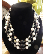 "Vintage Vendome 21"" Three Strand Black And White Chunky Art Glass Bead N... - $99.00"