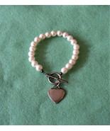 Silver Heart Charm Pearl Bead Bracelet, Toggle Clasp, Vintage 70s - $27.00