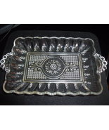 Beaded Glass Relish or Pickle Dish with Medallion Center Design - $15.00