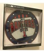 """2016 Memory Company Texas Rangers MLB AL Art-Glass Wall Quartz Clock 11""""... - $39.59"""