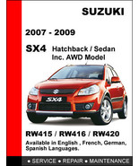 SUZUKI SX4 2007 2008 2009 FACTORY SERVICE REPAIR WORKSHOP OEM MAINTENANC... - $14.95