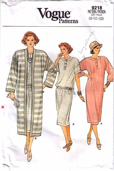 1985 Vogue DRESS & COAT Pattern 9218-v Sizes 8-10-12