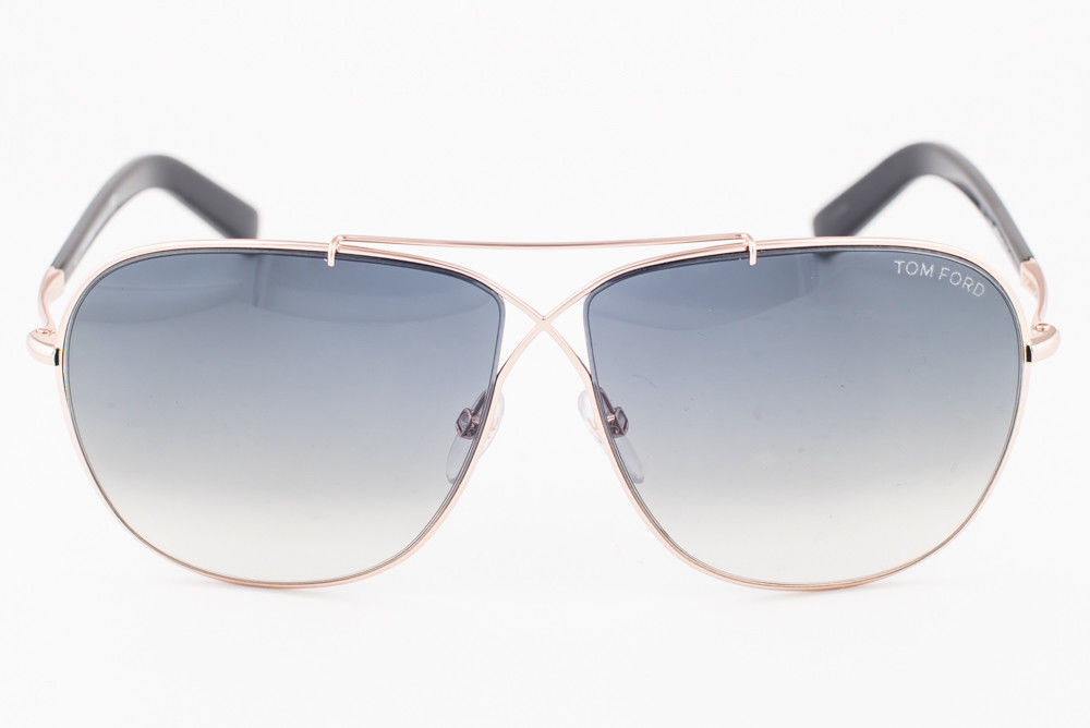 Tom Ford April Black Gold / Gray Gradient Aviator Sunglasses TF393 28P