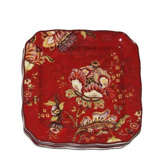 4 GABRIELLE RED Floral Jacobean 222 Fifth and 50 similar items