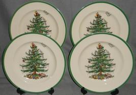 "Set (4) Spode CHRISTMAS TREE PATTERN Green Trim 10 5/8"" DINNER PLATES  - $79.19"