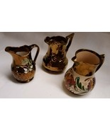 3 Wade Pottery Luster Lustre Harvest Ware Pitchers Dandy Jugs - $39.59