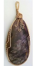 Cacoxinite Amethyst Bronze Wire Wrap Pendant 1 - $27.98