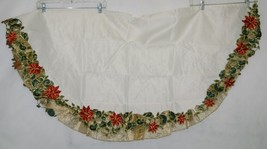 Embroidered 54 Inch Christmas Tree Skirt Ivory Red Poinsettias image 2