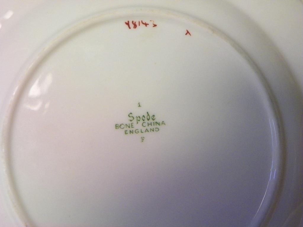 "2 SPODE SAVOY DINNER  PLATES GOLD TRIM 10 1/2"" EMBOSSED LEAF PATTERN"
