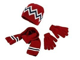 Kid's Red Stripe Hat Gloves Scarf Set One Size - $10.88