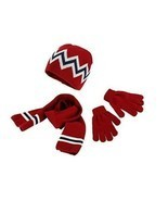 Kid's Red Stripe Hat Gloves Scarf Set One Size - £7.98 GBP