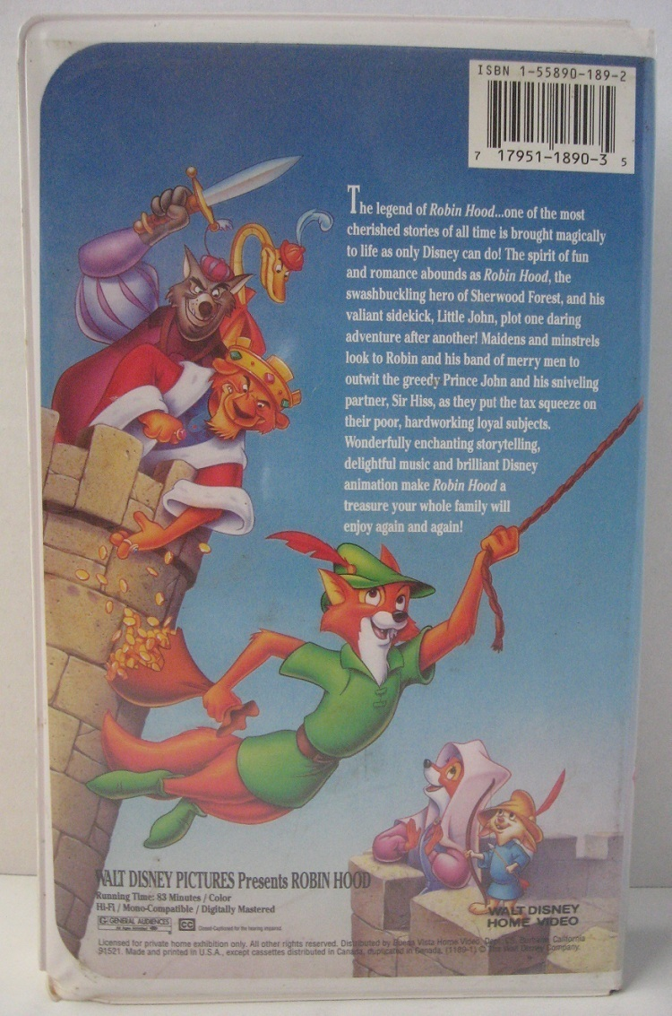 Disney ROBIN HOOD VHS Movie Video Tape Classic 1991 - VHS ...