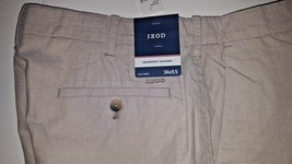 NEW! IZOD Newport Oxford Shorts Casual Golf Solid Khaki Beige Men's Size... - $21.39