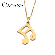 CACANA Stainless Steel Necklace For Women Man Lover's Musical Notes Gold And Sil - $7.98