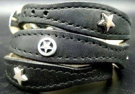 Silver STAR HATBAND Black Scalloped LEATHER with Rectangle+Star CONCHOS ... - $26.59