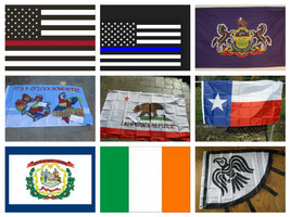 Flags Polyester Flag 3'x5' Police Fire WV Parrot Viking Marine Eire Cali... - $2.37+