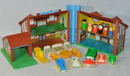 Vintage Fisher Price Little People 952 Brown Tudor House Complete + Extras 1019! - $90.00