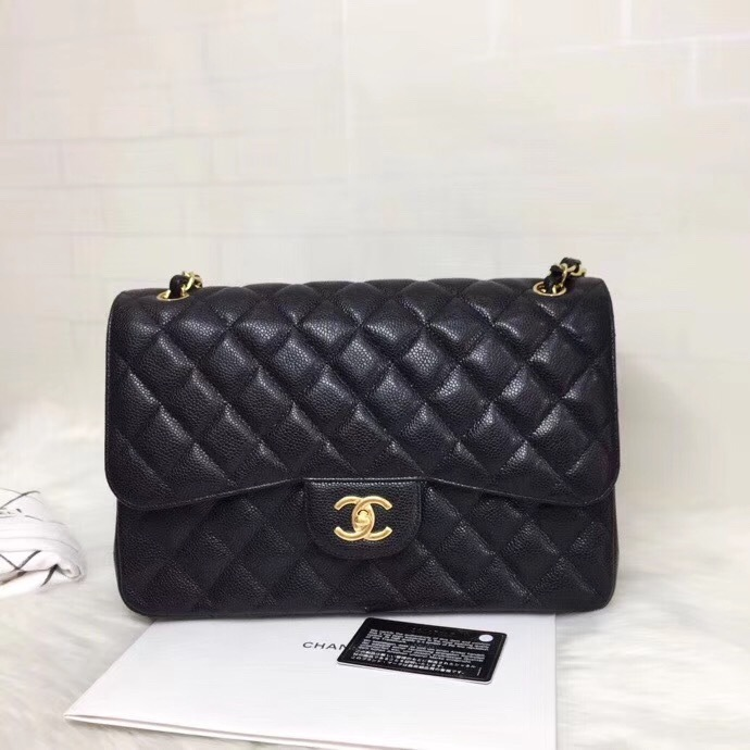 NEW AUTHENTIC CHANEL BLACK QUILTED CAVIAR JUMBO CLASSIC DOUBLE FLAP BAG GHW