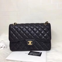 NEW AUTHENTIC CHANEL BLACK QUILTED CAVIAR JUMBO CLASSIC DOUBLE FLAP BAG GHW image 1