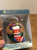 Traditions Glass Character Ball Ornament Teddy Bear Christmas Stocking C... - $10.00