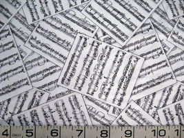 1/2 yard music/notes/staff/sheet music white quilt fabric -free shipping