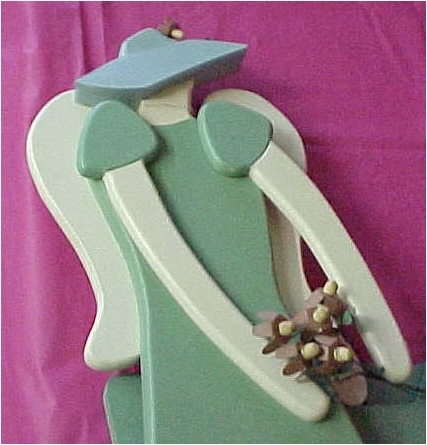 Wall Hanging, Wood, Garden Party Angel with Bouquet