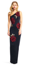 Adrianna Papell One Shoulder Dress with Beaded Rose Accents, Black/Crims... - $98.99