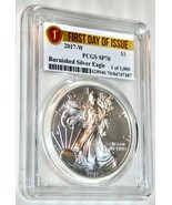2017-W $1 PCGS SP70 Burnished Silver American Eagle FIRST DAY OF ISSUE 1... - $154.83