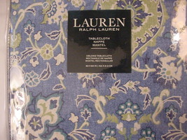 "Ralph Lauren Chambers Medallion Cobalt Blue/Green Tablecloth 84"" Oblong - $39.00"