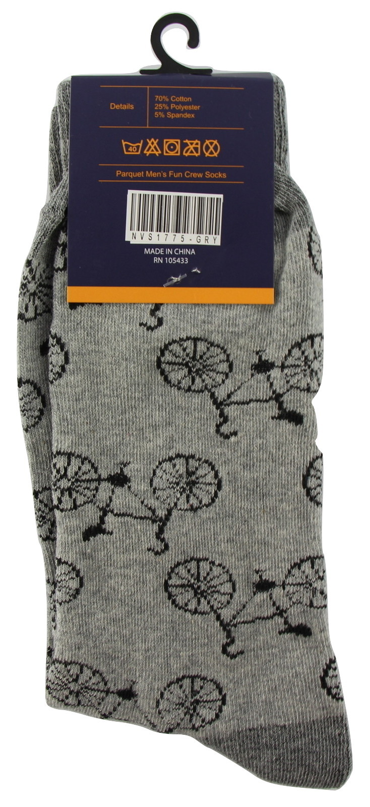 Bicycle Novelty Socks Mens Crew Gray Casual Cotton Blend Cyclist Sock Bike Gift