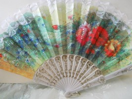 Beautiful White Embroidered Floral Lace Folding Hand Fan Asian  n114 - $12.99