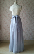 SILVER GRAY Wedding Bridesmaid Tulle Skirt High Waist Gray Maxi Full Tulle Skirt image 2